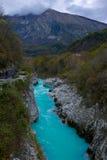 Kobarid και ο ποταμός soca στοκ φωτογραφία με δικαίωμα ελεύθερης χρήσης
