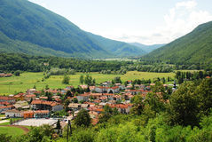 Kobarid. The small town of Kobarid in the Littoral region of north west Slovenia, located in the Soca Valley Royalty Free Stock Image