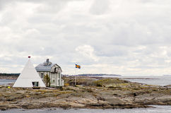 Kobba Klintar e casa de campo piloto velha Fotografia de Stock