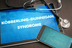 Kobberling-Dunnigan syndrome (cutaneous disease) diagnosis medic. Al concept on tablet screen with stethoscope Royalty Free Stock Image