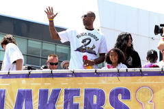 Kobe au défilé de Laker Photo libre de droits