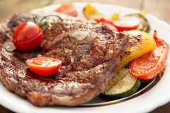 Kobe beef ribeye steak with grilled vegetables Royalty Free Stock Images