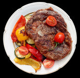 Kobe beef ribeye steak with grilled vegetables Royalty Free Stock Photos
