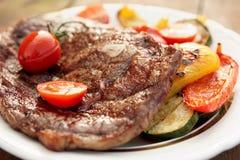 Kobe Beef Ribeye Steak With Grilled Vegetables Royalty Free Stock Images