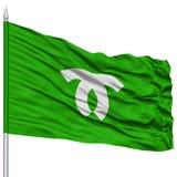 Kobe Capital City Flag sull'asta della bandiera, volante nel vento, isolato su fondo bianco Fotografie Stock Libere da Diritti