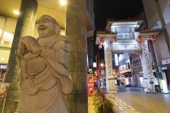 Kobe, Japan - 12. April 2016: Buddha-Statue in Chinatown in Kob lizenzfreie stockfotos