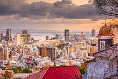 Kobe, Japan City Skylinew. Kobe, Japan city skyline from the historic Kitano District Stock Photo