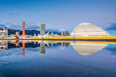 Kobe, Japan Port. Skyline and reflections at dusk Royalty Free Stock Photography