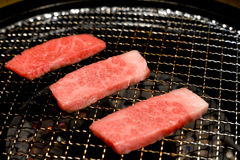 Kobe Miyazaki Wagyu beef cooking. Taken in Okinawa, japan Royalty Free Stock Images