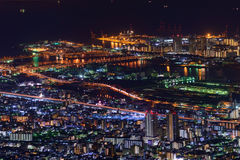 Kobe at night, View from the Kukuseidai of Mt.Maya Stock Image