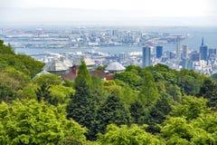 Kobe Port Island en Kobe Airport in Osaka Bay van Nunobiki Herb Garden op Onderstel Rokko in Kobe, Japan wordt gezien dat royalty-vrije stock afbeelding