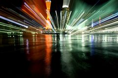 Kobe Port Night Light Explosion Stock Photos