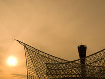 Kobe Port at sunset. Sunset silhouette view of Kobe Port Tower near the harbor area in Kobe city stock photography