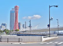 Kobe Port Tower with blue sky in Kobe, Japan. Royalty Free Stock Image