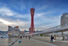 Kobe Port Tower seen from Kobe Meriken Park, Port of Kobe, Hyogo Prefecture, Japan Stock Photos