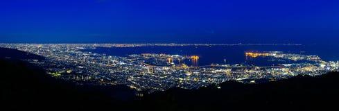 Kobe przy nocą i fotografia royalty free