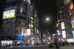 Kobe Sannomiya stad vid natt Royaltyfri Bild