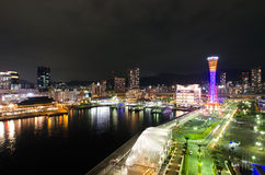 Kobe Seafront Night Royaltyfri Bild