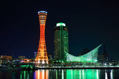 Kobe Tower at Night Stock Images
