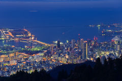 Kobe in the twilight, View from the Kukuseidai of Mt.Maya Stock Images