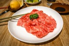 Kobe wagyu wołowiny plasterki obraz royalty free