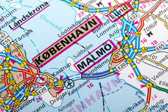 Kobenhavn and Malmo. The city of  Kobenhavn and Malmoin detail on the map Stock Photos