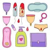 Kobiecy higiena set śliczna ilustracja Obrazy Stock