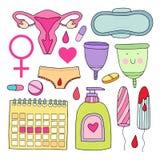 Kobiecy higiena set Śliczna wektorowa ilustracja Fotografia Royalty Free