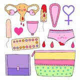 Kobiecy higiena set Śliczna wektorowa ilustracja Obraz Royalty Free