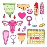 Kobiecy higiena set Śliczna wektorowa ilustracja Zdjęcia Stock