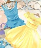 Kobiet świąteczne suknie na torebce i wieszaku ilustracja wektor