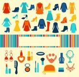 Kobiet akcesoria Robi zakupy tło ilustracji