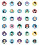 Kobiet Avatars Płaskie ikony - okrąg wersja Zdjęcia Royalty Free