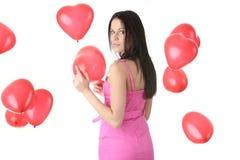 kobiet balonowi piękni kierowi czerwoni potomstwa Zdjęcia Stock