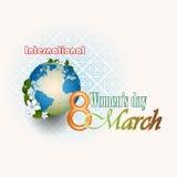 8 kobiet dnia Marcowy Międzynarodowy tło ilustracja wektor