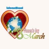 8 kobiet dnia Marcowy Międzynarodowy tło z sercem wypełniał arabesk Obrazy Royalty Free
