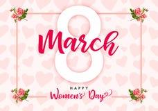 8 kobiet dnia róży Marcowy Szczęśliwy kwiat i serce sztandar Fotografia Royalty Free
