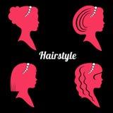 Kobiet fryzury z perełkową nicią sylwetka Zdjęcie Stock