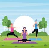 Kobiet joga w parku ilustracji