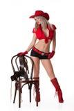 kobiet kapeluszowi czerwoni potomstwa Obrazy Royalty Free
