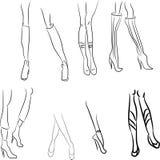 Kobiet nogi ustawiać Seksualnie młodej kobiecości seksowny logotyp, zarysowywa atrakcyjnego Fotografia Stock