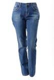 Kobiet nogi w niebieskich dżinsach Zdjęcia Stock