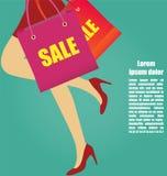 Kobiet nogi Z szpilkami Biega Z torba na zakupy, biznes Zdjęcie Royalty Free