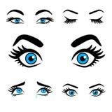 Kobiet oczu wyrażenia ustawiają 2 Obrazy Stock