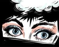 Kobiet oczy zamknięci w górę wektorowego illustraton z mową gulgoczą, zaskakiwali, no! no! wystrzału sztuki komiczki stylu kobiec ilustracji