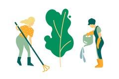 Kobiet ogrodniczki angażować w drzewnym flancowaniu Nawadniający roślinę i czyścący Pracy wiosna i lato sezon ilustracja wektor