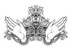 Kobiet otwarte ręki nad świętą geometrią projektują elementy Alchemia, filozofia, duchowość symbole Rocznik ilustracja wewnątrz royalty ilustracja