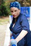 kobiet piękni błękitny ubierający potomstwa zdjęcia stock