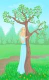 kobiet piękni drzewni potomstwa ilustracji