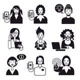 Kobiet Pracujących twarze Ustawiają Czarny I Biały Obrazy Stock
